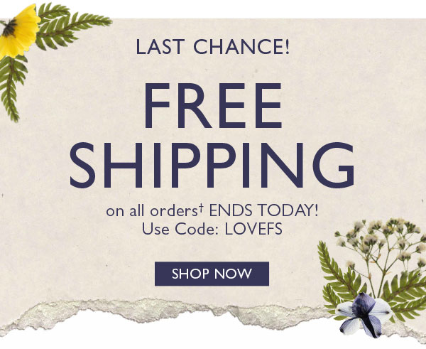 Last Chance! Free shipping on all orders� ENDS TODAY! Use code: LOVEFS