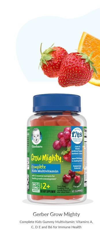 Gerber Grow Mighty Complete Kids Gummy Multivitamin: Vitamins A, C, D E and B6 for Immune Health, Non-GMO, Gluten-Free, 60 Count Single Bottle