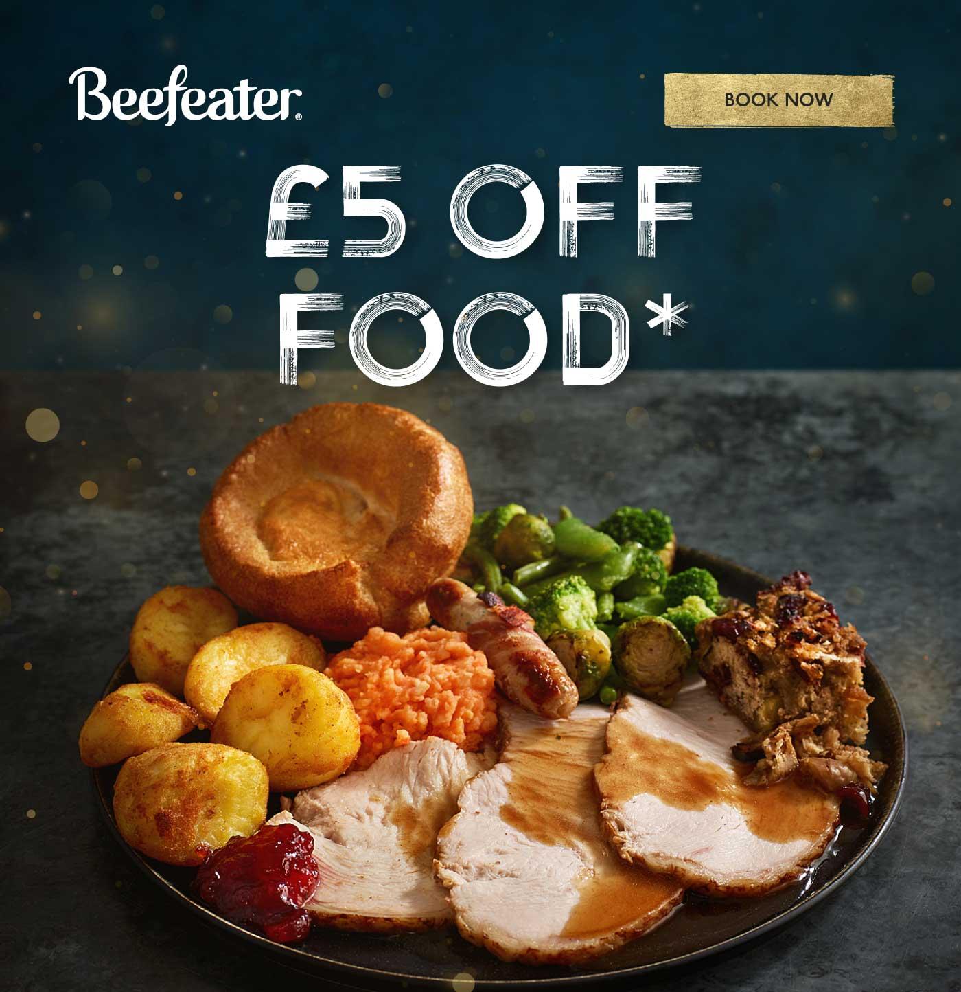 £5 OFF FOOD*