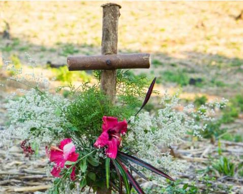 A cross in a field and some flowers