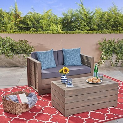 Brent Outdoor Acacia Wood Loveseat and Coffee Table Set, Gray