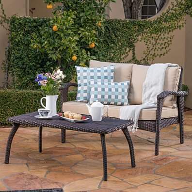 Hilary Outdoor Brown Wicker Loveseat and Coffee Table Set
