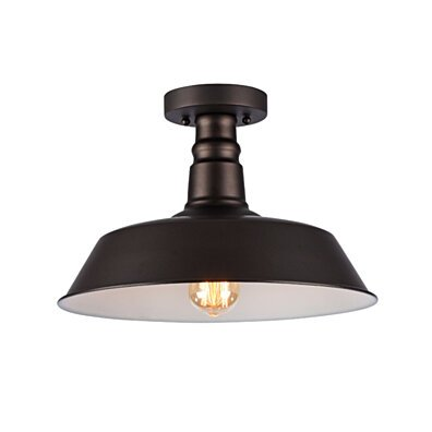 IRONCLAD Industrial-style 1 Light Rubbed Bronze Semi-flush Ceiling Fixture 14
