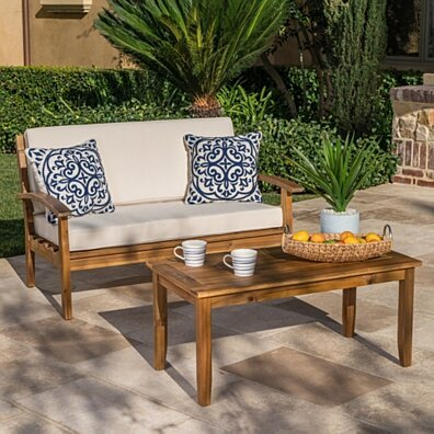 Keanu Outdoor Acacia Wood Loveseat and Coffee Table Set with Cushions
