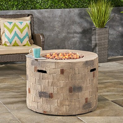 Kaur Outdoor Lightweight Concrete Circular Fire Pit