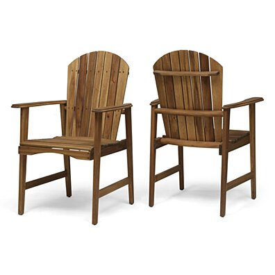 Easter Outdoor Weather Resistant Acacia Wood Adirondack Dining Chairs (Set of 2)