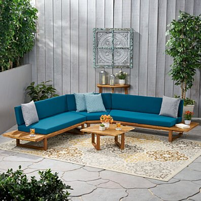 Aida Outdoor Acacia Wood 5 Seater Sectional Sofa Set with Water-Resistant Cushions