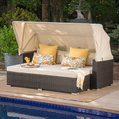 Grayson Outdoor Aluminum Framed Wicker Sofa with Water Resistant Canopy