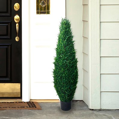 40 Inch Artificial Cyprus Tree Large Faux Potted Evergreen Plant for Indoor or Outdoor Decoration at Home or Office