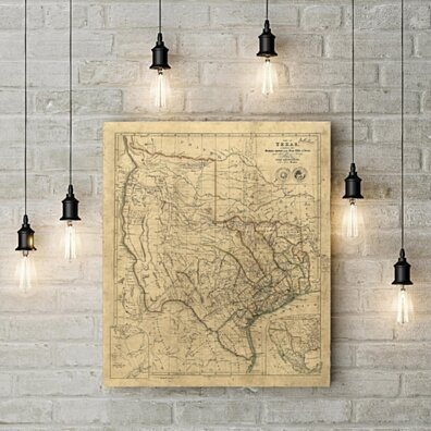 Old Texas wall Map 1841 Vintage Historical map Antique style Map of Texas state Map Texas Map Fine Art Print