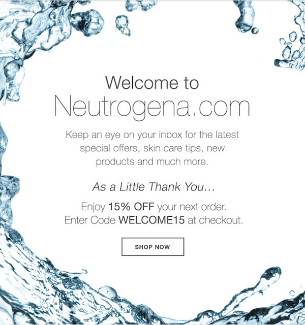 Welcome to Neutrogena.com. Keep and eye on your inbox for the latest special offers, skin care tips, new products, and much more. As a little thank you, enjoy 15% off your next order. Enter the code WELCOME15 at checkout.