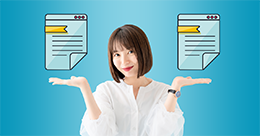 Smiling professional woman holds two palms up under two floating digital documents