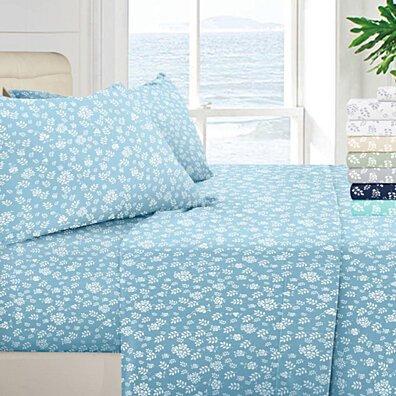 4 Piece Floral Design Bed Sheet Set