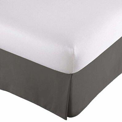 Bed Skirt Long Staple 100% Fiber Finest Quality - Durable, Comfortable, Abrasion Resistant & Quadruple Pleated