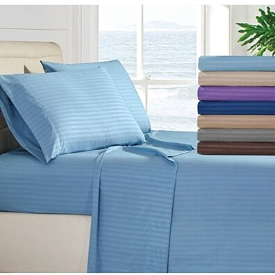 4-Piece 1800 Series Deep Pocket Fitted Egyptian Cotton Bed Sheet Set