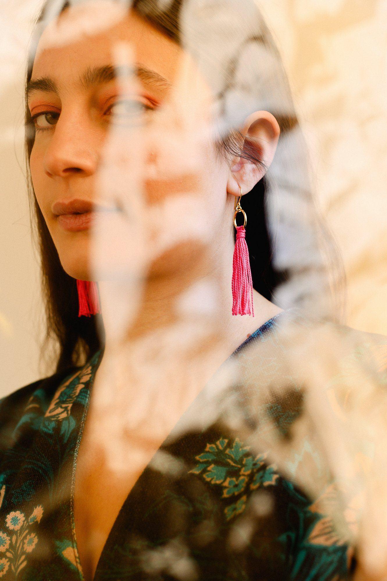 Gold & Pink Tassle Earrings