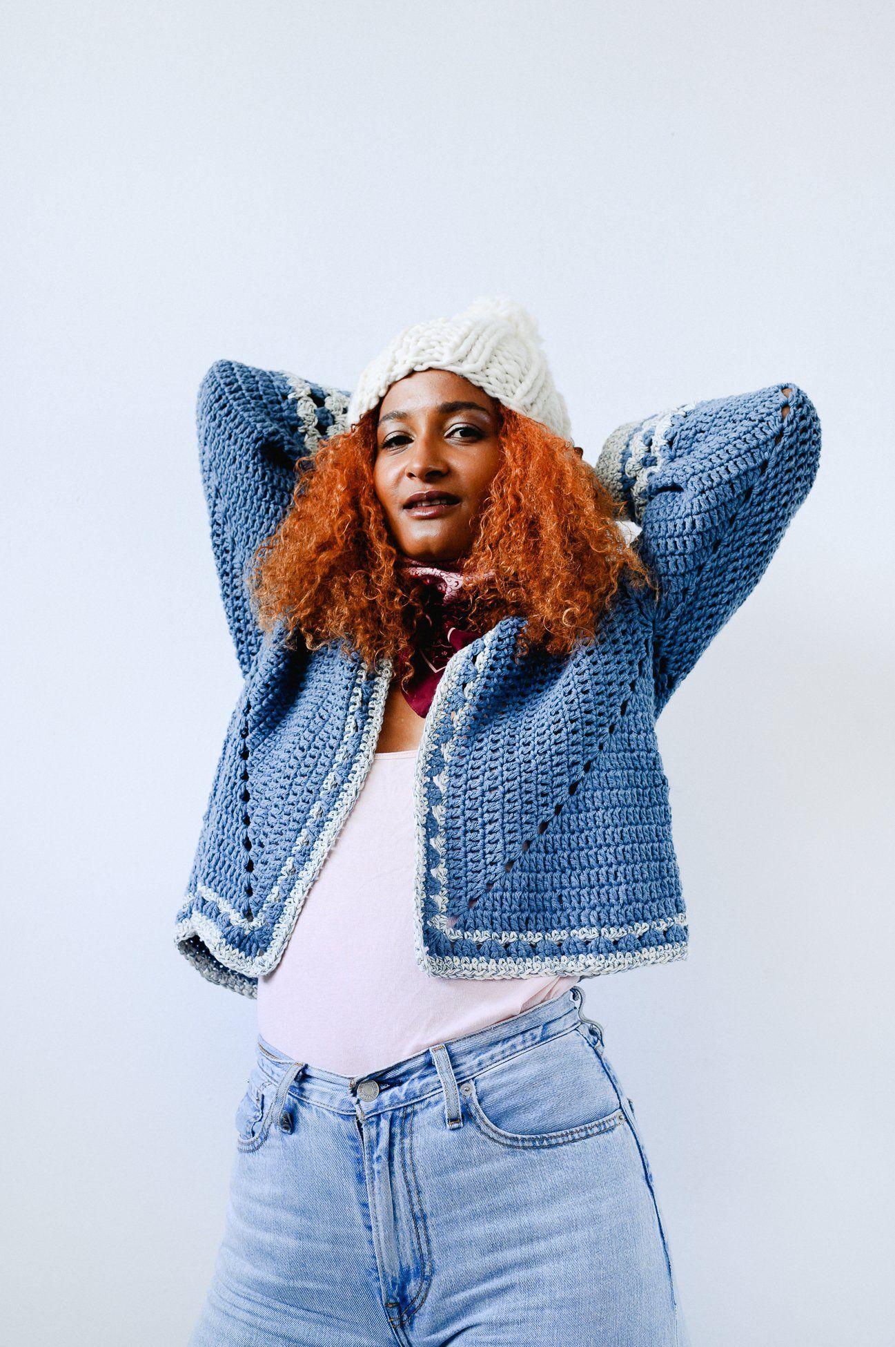 Birdsong X Katie Jones Recycled Denim Crochet Cardigan
