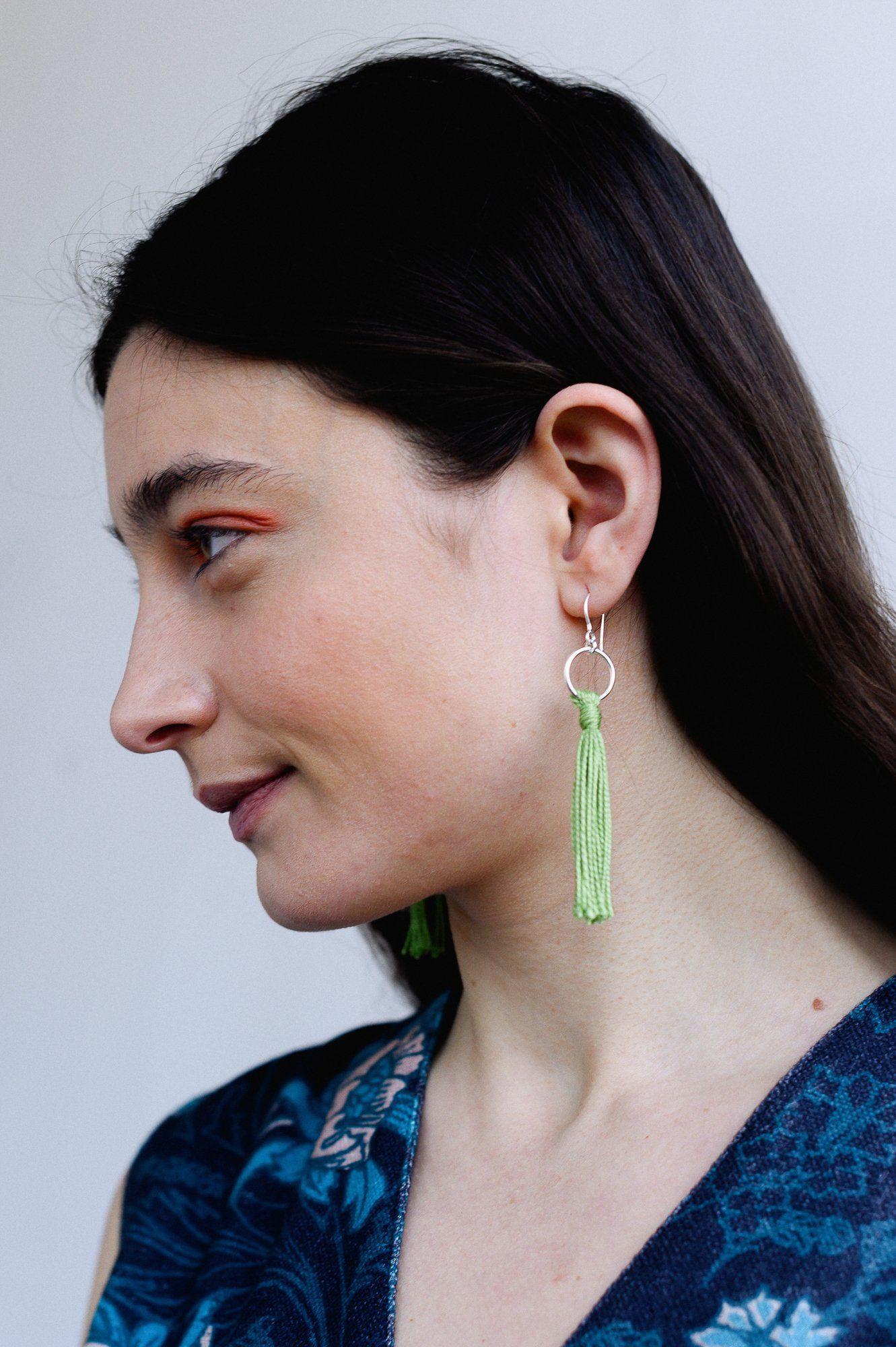 Silver & Green Tassle Earrings