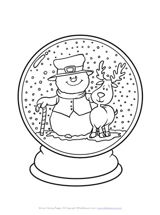 Winter Snowglode Coloring Page