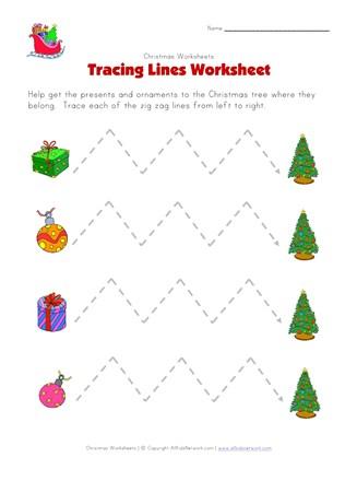 Christmas Tracing Lines Worksheet