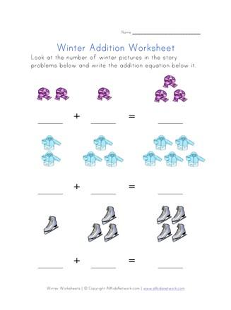 Winter Addition Equations Worksheet