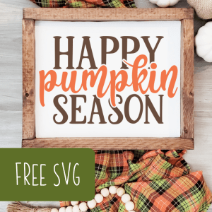 Free 'Happy Pumpkin Season' Fall SVG Cut File for Silhouette Portrait or Cameo and Cricut Explore or Maker - by cuttingforbusiness.com.