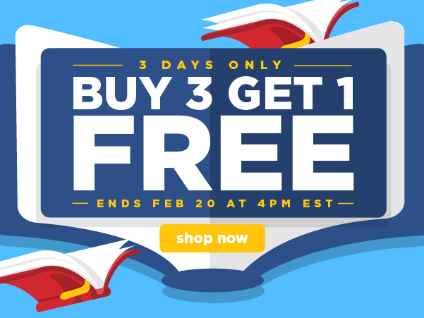 Starting today: Buy 3 books, get 1 FREE! Offer ends Feb 20 at 4pm EST!