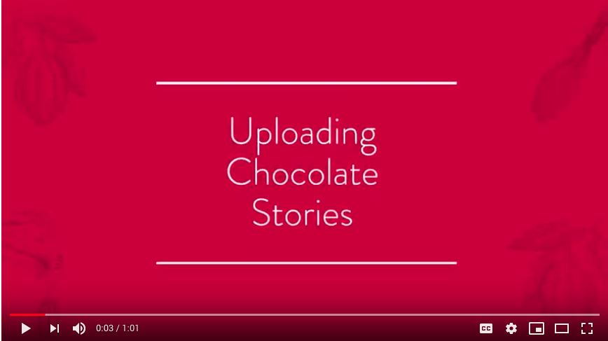 Youtube thumbnail with link on how to upload chocolate stories