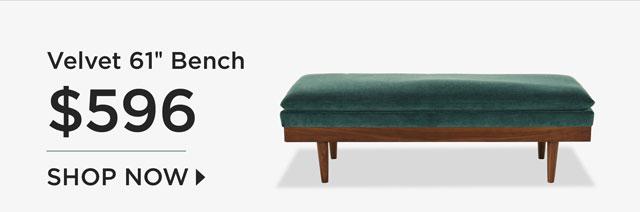 """Velvet 61"""" Bench - $596 - Shop Now"""