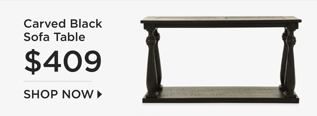 Carved Black Sofa Table - $409 - Shop Now