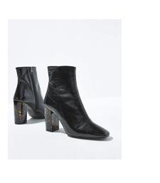 Lyla Black Patent Heeled Boots
