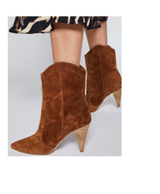 Cassie Tan Suede Cowboy Boots