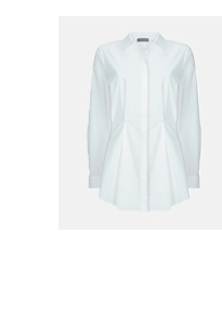 White Pleated Cotton Shirt