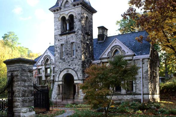 A building in Mount Hope Cemetery