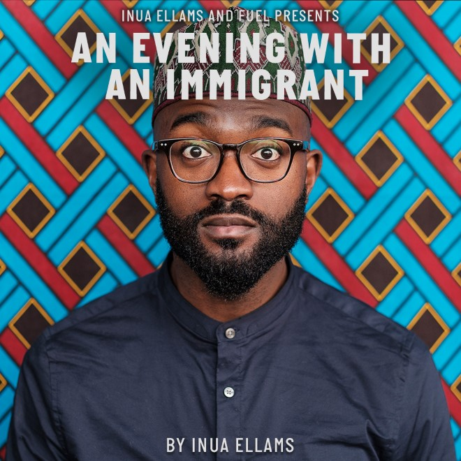 Poster image for An Evening With An Immigrant. Photo of Inua Ellams in front of a red, blue, black and yellow mosaic pattern background