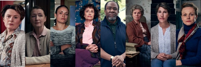Image of the Talking Heads cast, Monica Dolan, Lesley Manville, Rochenda Sandall, Kristin Scott Thomas, Lucian Msamati, Imelda Staunton, Tamsin Greig, Maxine Peake
