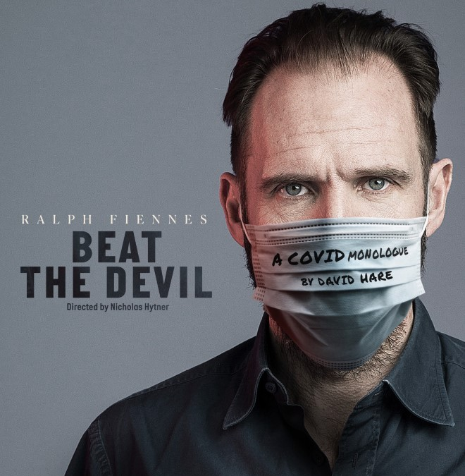 Poster image for Beat the Devil with Ralph Fiennes wearing a medical face mask