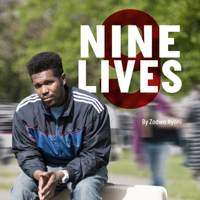 Poster image for Nine Lives. Lladel Bryant sat with his hands together looking at the camera, tress in the background.