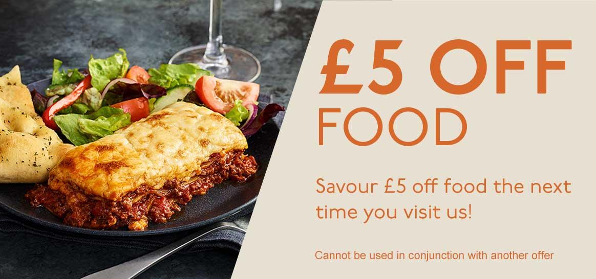 £5 OFF FOOD