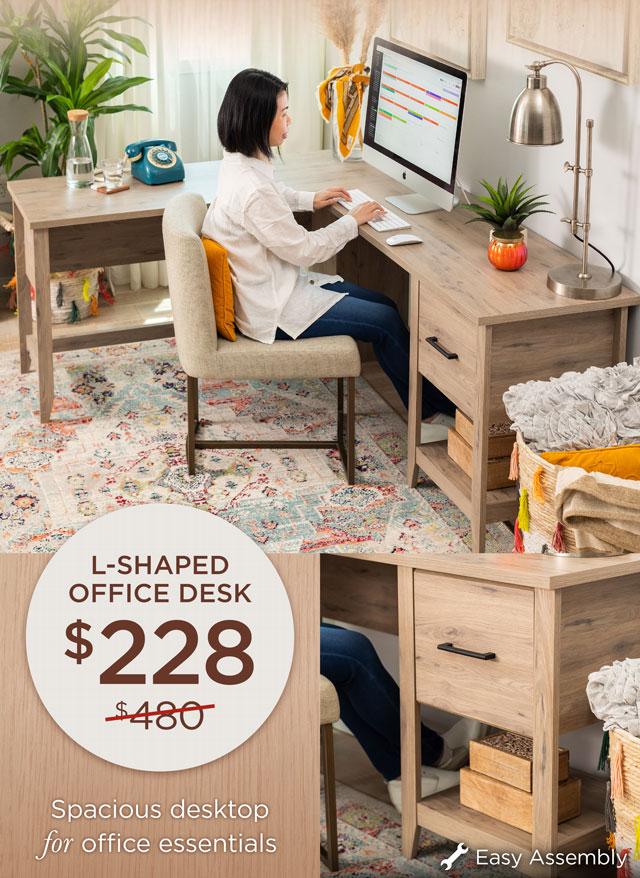 L-Shaped Office Desk - $228