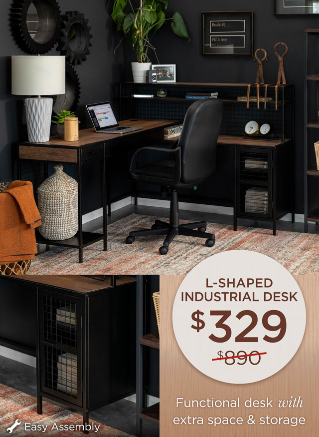 L-Shaped Industrial Desk - $329