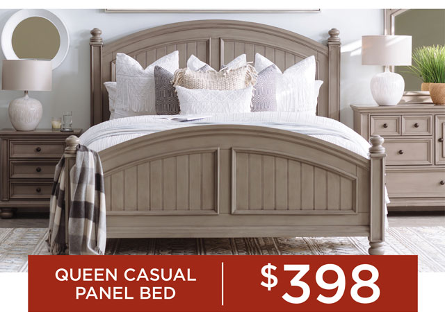 Queen Casual Panel Bed for $398
