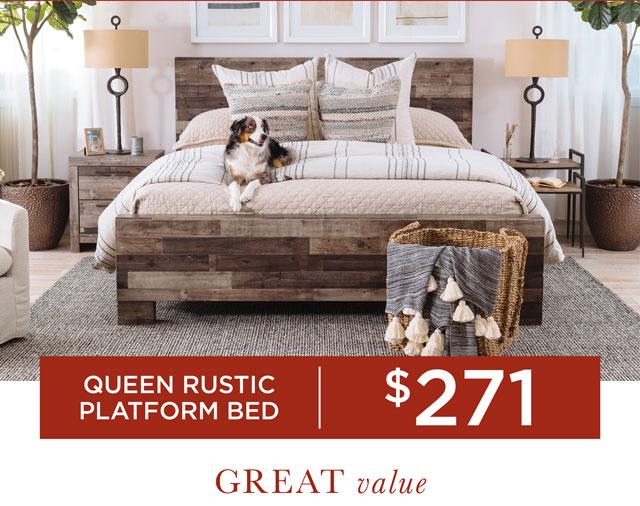 Queen Rustic Platform Bed for $271