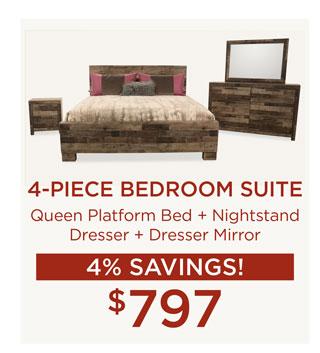 4-Piece Bedroom Suite for $797