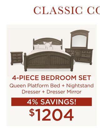 4-Piece Bedroom Set for $1204