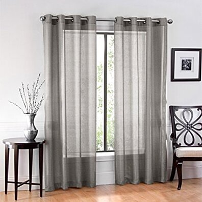 Ruthy''s Textile 2 Piece Voile Window Sheer Curtains Grommet Panels for Bedroom Decor & Living Room, Size 54
