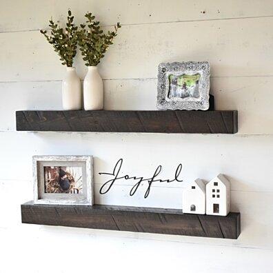 Rustic Solid Wood Floating Shelves