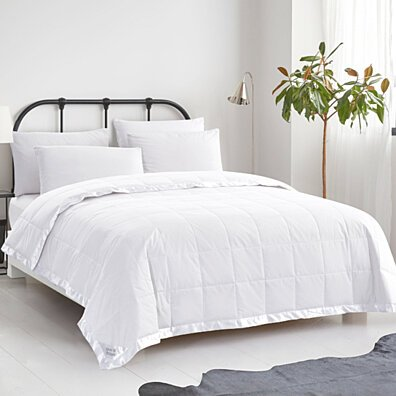 Puredown Light Weight Down Blanket, 100% Cotton Cover, Satin Weave