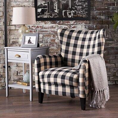 Arador Black & White Plaid Fabric Club Chair