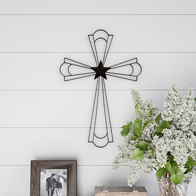 Metal Wall Cross with Decorative Center Star Design- Rustic Handcrafted Religious Wall Art for Decor in Living Room